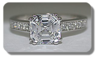 1922 Cartier Reproduction ring set with an Asscher cut Asha simulated diamond center