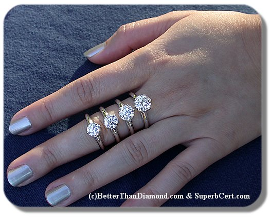 Better Than Diamond >> Round Size Comparison Photo