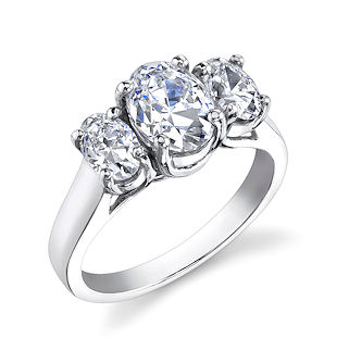 Trellis 3 stone oval ring